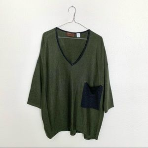 Kerisma Olive Green Raven Pocket Sweater